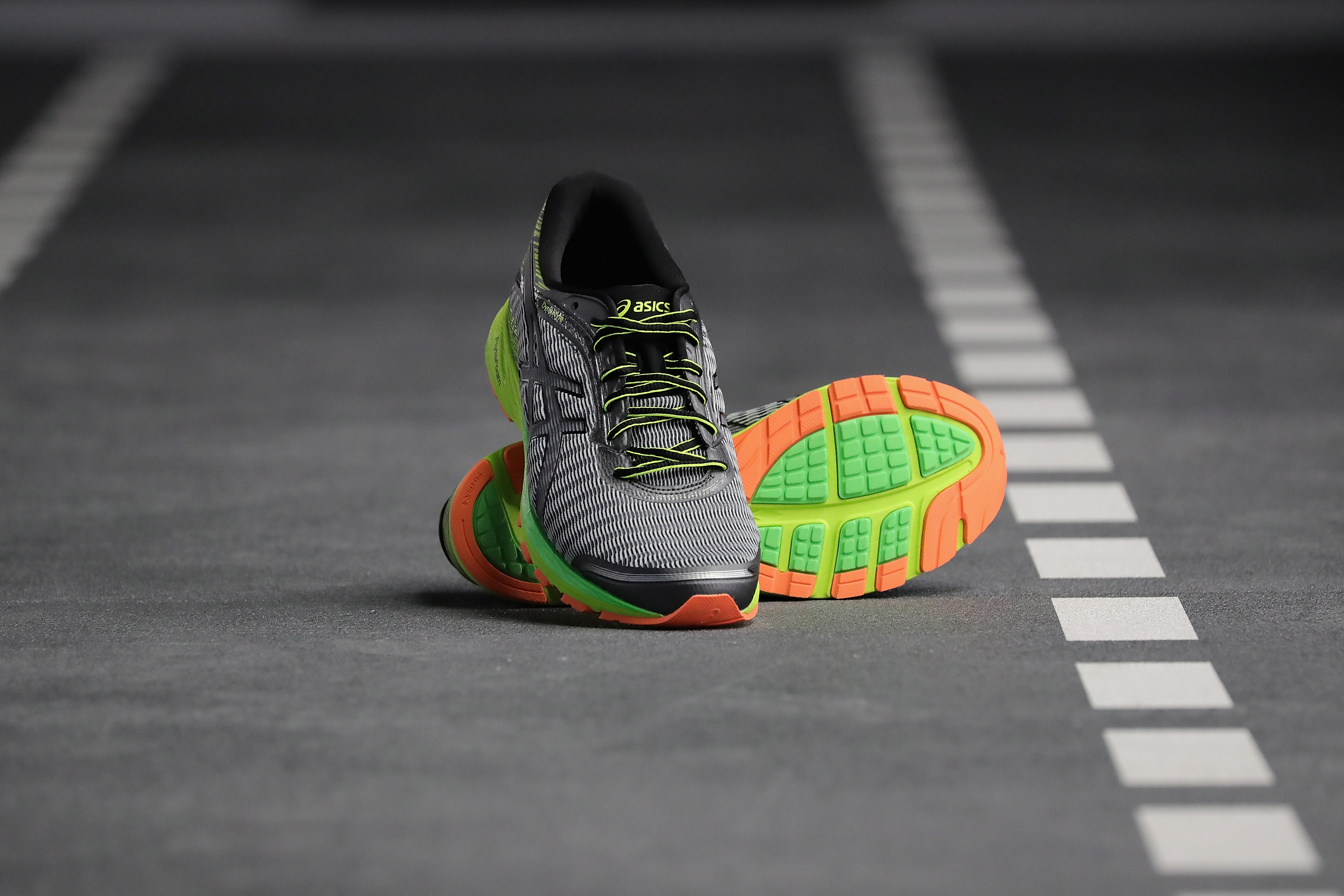 NEW YORK, NY - JUNE 14: The new DynaFlyte running shoe, ASICS lightest-ever cushioning shoe, as seen on the DynaFlyte Deck, a test track specially designed for ASICS DynaFlyte Global Launch Event on June 14, 2016 in New York City. (Photo by Neilson Barnard/Getty Images for ASICS)