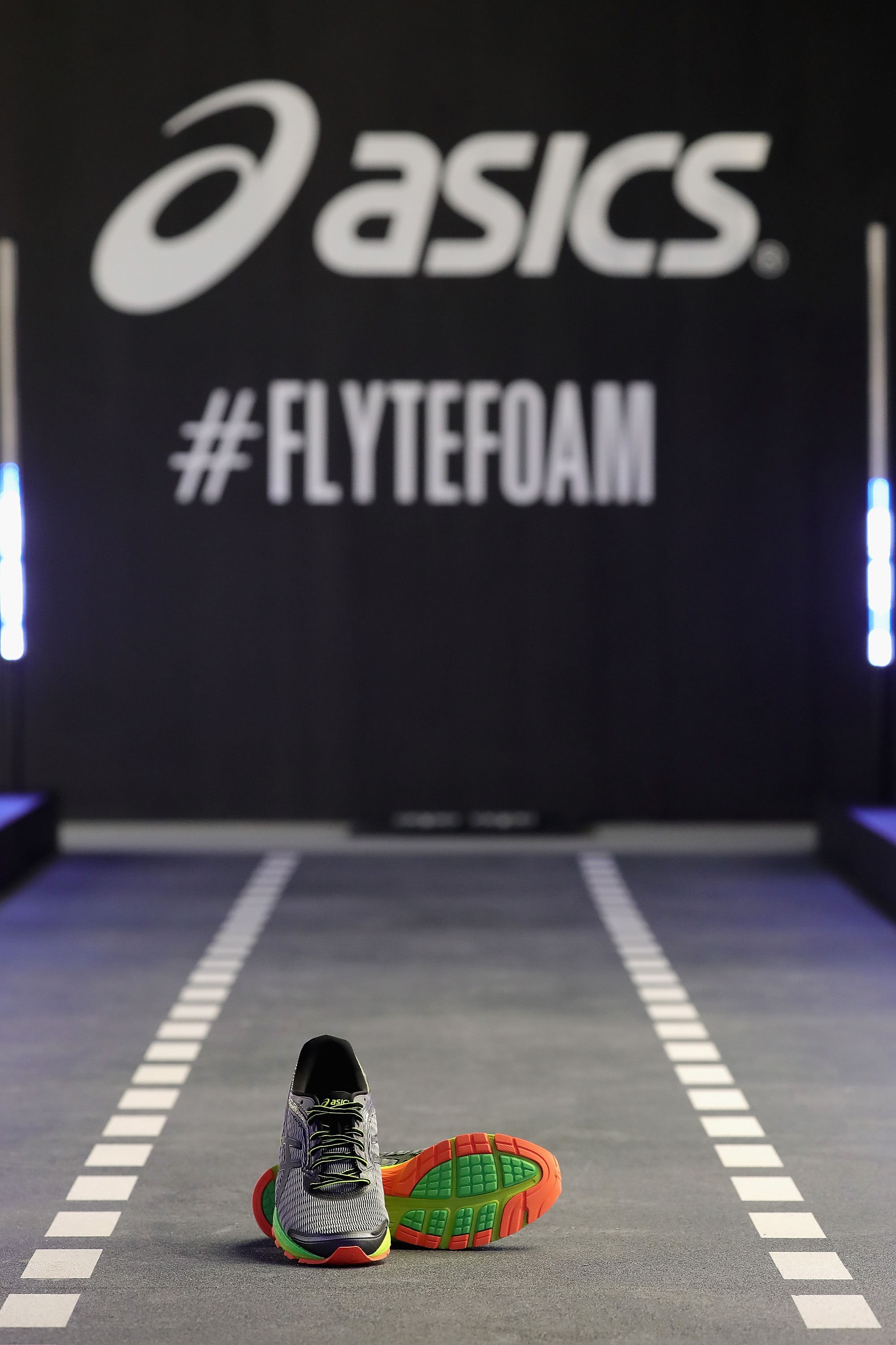 NEW YORK, NY - JUNE 14: ASICS DynaFlyte Global launch event featured the DynaFlyte Deck, a test track specially designed for DynaFlyte, ASICS lightest-ever cushioning shoe for runners who want speed, as seen on June 14, 2016 in New York City. (Photo by Neilson Barnard/Getty Images for ASICS)
